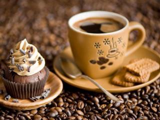 обои Кофе,   пирожное и печенье фото
