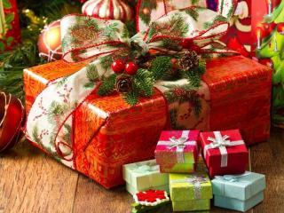 обои Новогодние подарки фото