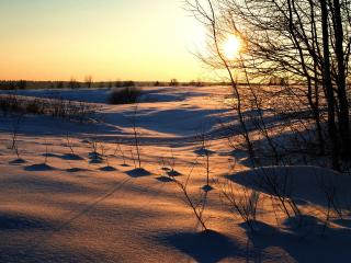 обои Поле,   снег,   закат фото