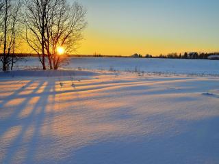 обои для рабочего стола: Зимний закат деревенский