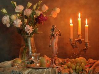 обои Свечи,   фрукты,   цветы и статуэтка фото