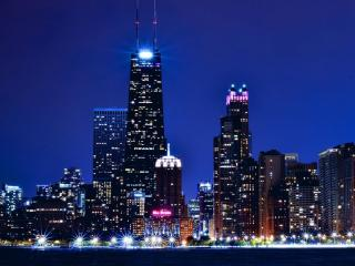 обои Чикаго в огнях фото