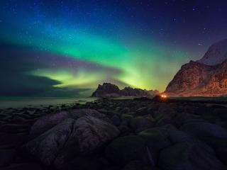обои Арктический пляж Utakleiv. Лофотенские острова. Северная Норвегия фото