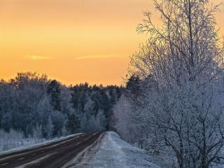 обои для рабочего стола: Вечер,   дорога,   зима