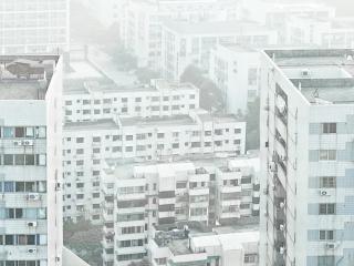 обои для рабочего стола: Спальные кварталы в утренней дымке
