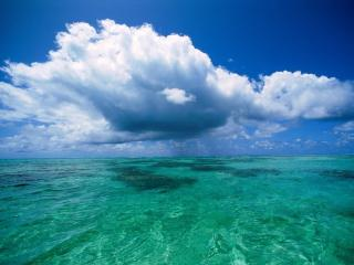 обои Бирюзовое море и белые облака фото