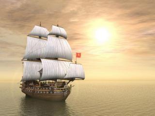 обои Деревянный корабль под парусами фото