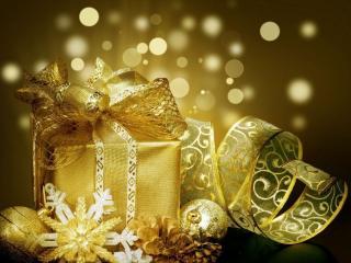 обои Золотистый подарок - новогодний фото