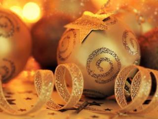 обои Новогоднее золото фото