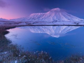 обои для рабочего стола: Рассвет над вулканом Толбачик. Камчатка