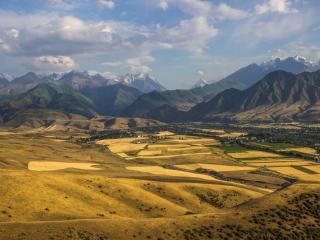 обои Поля и горы Бишкека фото