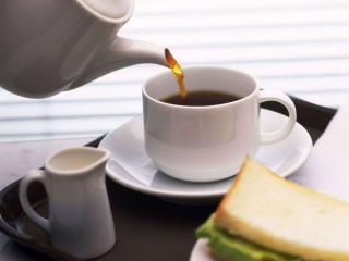 обои Чай с бутербродом фото