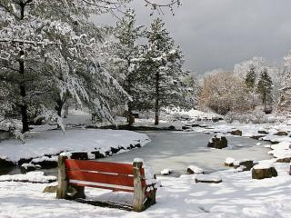 обои для рабочего стола: Замёршая речка в парке