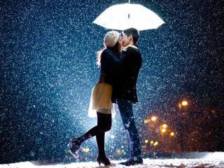 обои Он,   она,   снег и зонтик фото