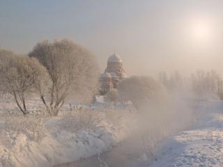 обои для рабочего стола: Холодное утро в России