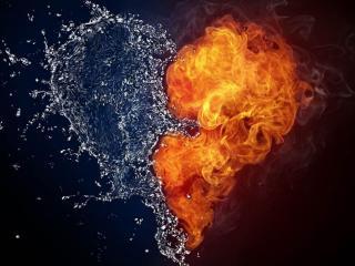 обои Вода и пламя сердца фото