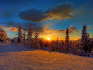обои Закат среди гор фото