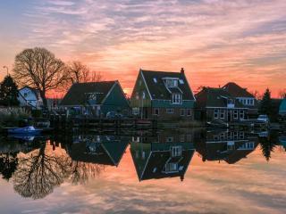 обои для рабочего стола: Вечер в деревне. Голландия