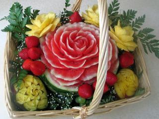 обои для рабочего стола: Корзина с розами
