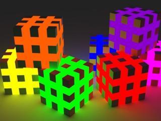 обои Разноцветные кубики фото