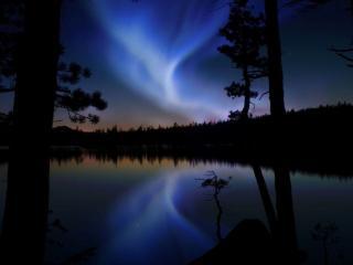обои Голубое сияние севера фото