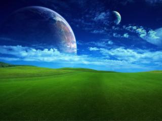 обои Планеты и зеленая травка фото