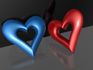 обои Сердцф двух цветов фото