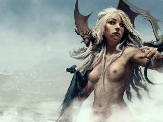обои Обнаженная Дайнерис и драконы фото