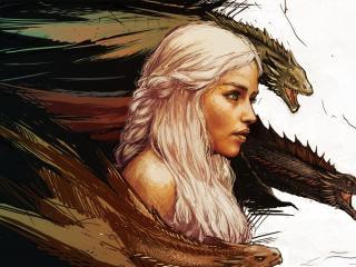 обои Дайнерис в окружении драконов фото