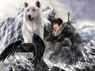 обои Джон Сноу с волком фото