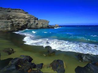 обои Зеленый пляж Папаколеа на Гавайях фото