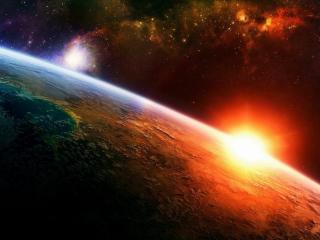 обои для рабочего стола: Восход солнца в космосе