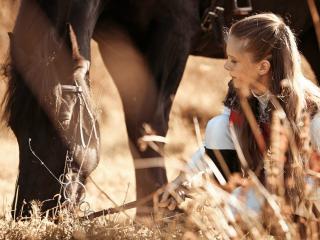 обои Девочка и конь фото