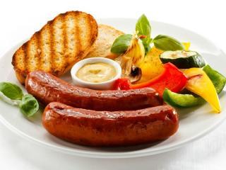 обои Завтрак с сосисками фото