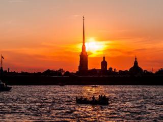 обои для рабочего стола: Закат над Петербургом