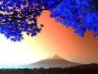 обои для рабочего стола: Вид на вулкан Фудзияма
