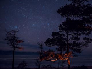 обои Звёздное небо на острове Ольхон,   Байкал фото