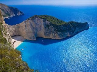 обои для рабочего стола: Бухта Наваджио,   на острове Закинтос в Греции