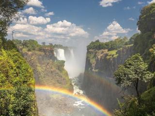 обои Водопад Виктория и радуга,   Зимбабве фото