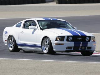 обои Форд Мустанг белый на трассе фото