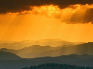 обои Sunset from Clingmans Dome, Great Smoky Mountains фото