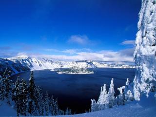 обои для рабочего стола: Вид на зимнее озеро