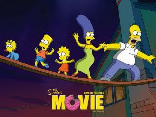 обои Симпсоны пробираются по канату фото