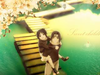 обои Naruto - двое на мостике фото