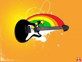 обои Гитара и радуга фото