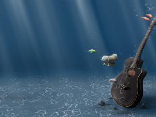 обои Гитара под водой фото