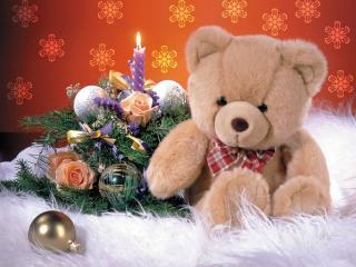 обои Новогодний плюшевый медвежонок фото