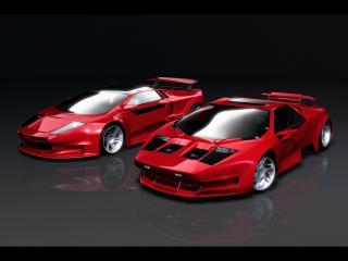 обои Красные гоночные автомобили фото