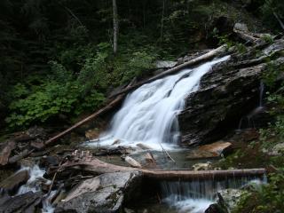 обои Водопад и обломки деревьев фото