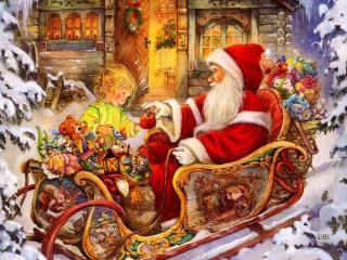 обои Санта дарит девочке подарки